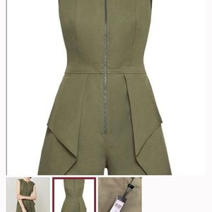 BCBG MAXARIZA  Olive one piece short jumpsuit